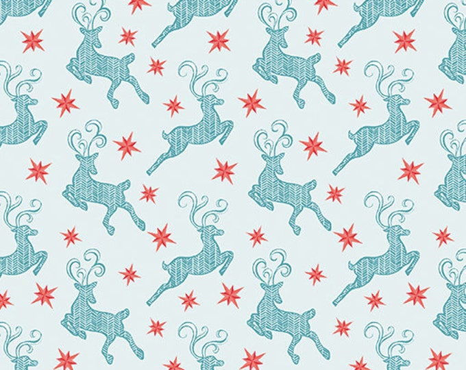 Contempo - Nordic Holiday - Teal Reindeer  - 1886-05 - Fabric by the Yard
