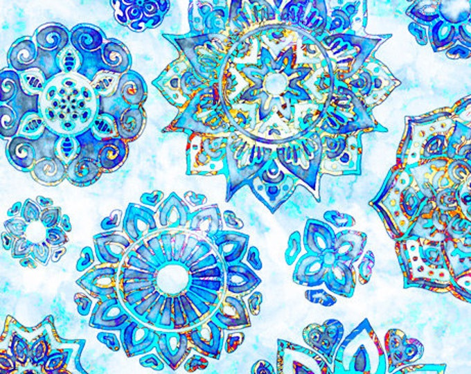 Quilting Treasures - Kashmir - Mandalas -  Blue - Sold by the Yard  -  27399B