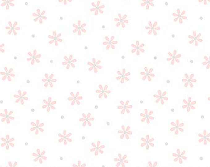 New - Northcott - Hello Little One - Pink Flowers - White - Animal Baby Print - Baby Pastel - Baby - Pastel - 22698-21 -  Sold by yard