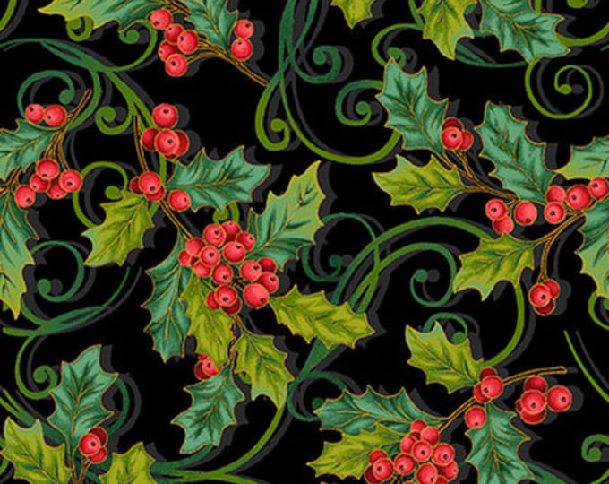 Studio E - Christmas Joy  -  Holly - Holly All Over - Berries - Christmas Fabric -Black/Red/Green -Gold Metallic- 4694M-99- Sold by the Yard