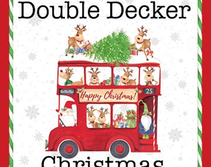 Northcot  - Double Decker Christmas - Xmas - London Themed Bus - Christmas Bus - Border - 22901-99 - By Karen Tye Bentley - Sold by the Yard
