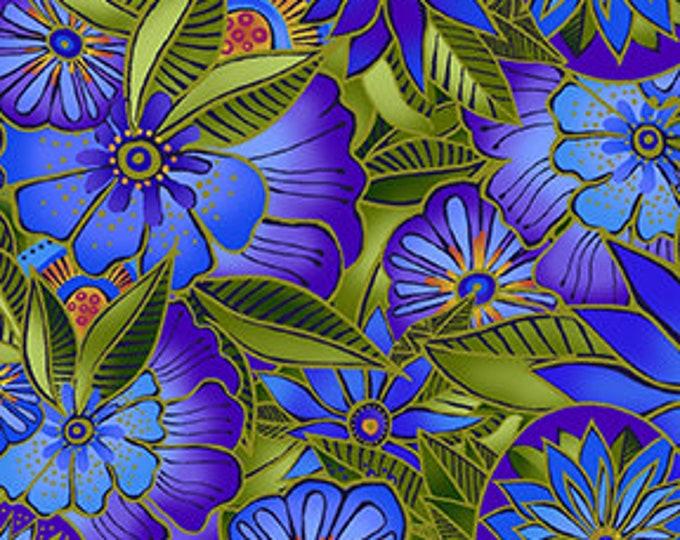 Laurel Burch - Sea Goddess - Floral - Royal Blue - Flowers -  Y2599-31 - Sold by Yard