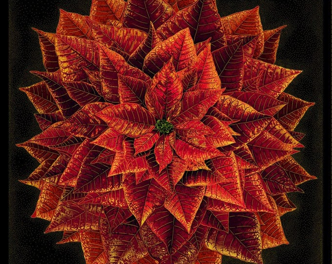 """Timeless Treasures - Holiday Spice - Panel - Poinsettia - Christmas Panel  - CM8510 -  Gold Metallic  - 36""""x43""""  - Sold by the Panel"""