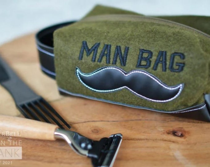 PRE-ORDER - Kimberbell - Man Bag - May Fill in the Blank - May 2021 - Complete Kit  - Small Olive Sipper Pouch - Sold by the Kit