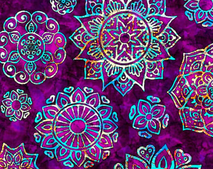 Quilting Treasures - Kashmir - Mandalas -  Violet - Sold by the Yard  -  27399V