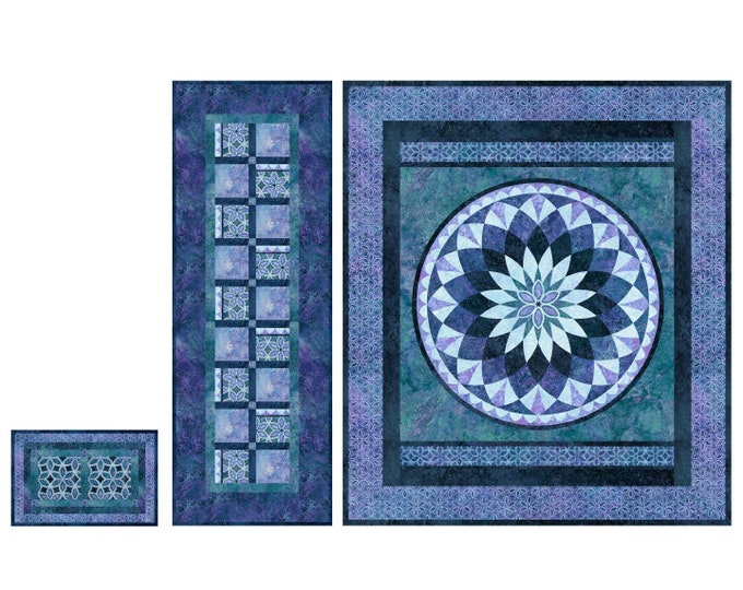 NEW - Northcott - Stonehenge Verona Pattern - Blue Lily Wall Hanging - Tabble Runner and Placemat - Pattern - PTN2720 - Pattern ONLY