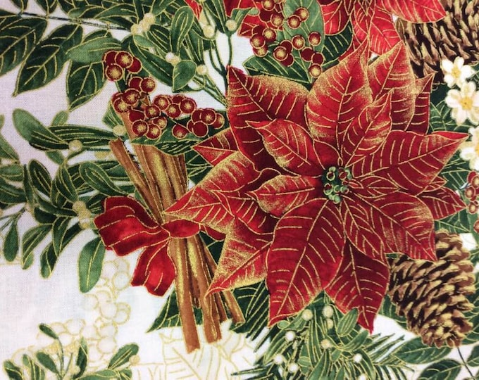 """Timeless Treasures - Holiday Spice -  Red Poinsettas -  Christmas  - CM8512 - White  - Gold Metallic - 36""""x43"""" - Sold by the Yard"""