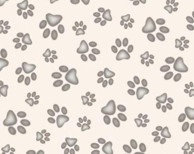 Elizabeth Studios - Adorable Pets - Paw Prints - Cream 181 -  Sold by the Yard
