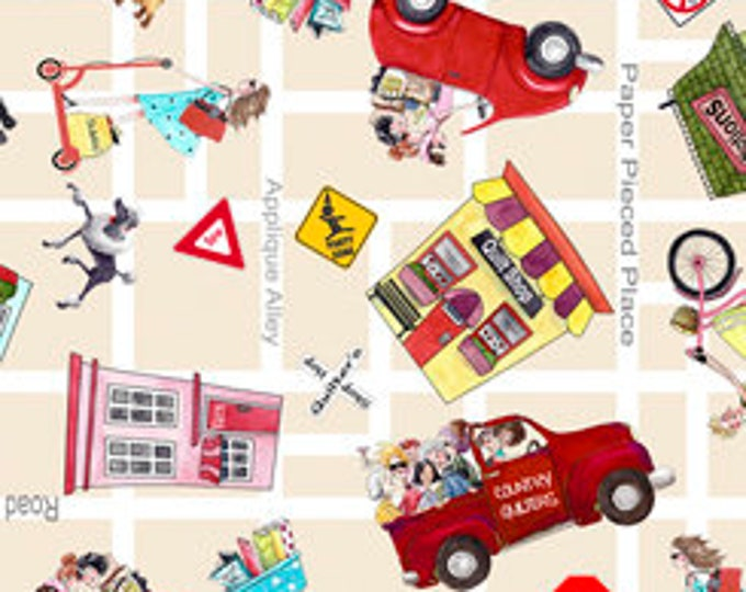 """Quilting Treasures - It's A Shop Hop - Shop Hop Fabric  - Toss - Streets and Shops - 27554E - Tan - 36""""x43"""" - Sold by the Yard"""
