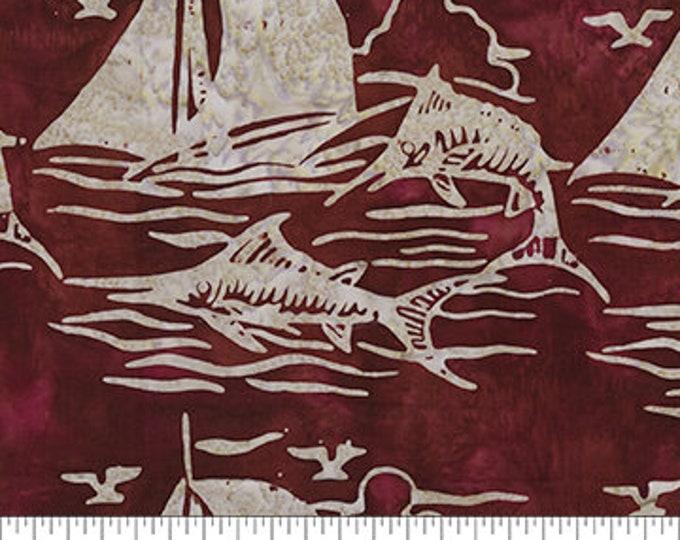 Northcott - Banyan Batik - At The Pier - Saling - Sail Boat Batik - Boat Batik - 80370-26  - Batik - Red- Sold by the yard