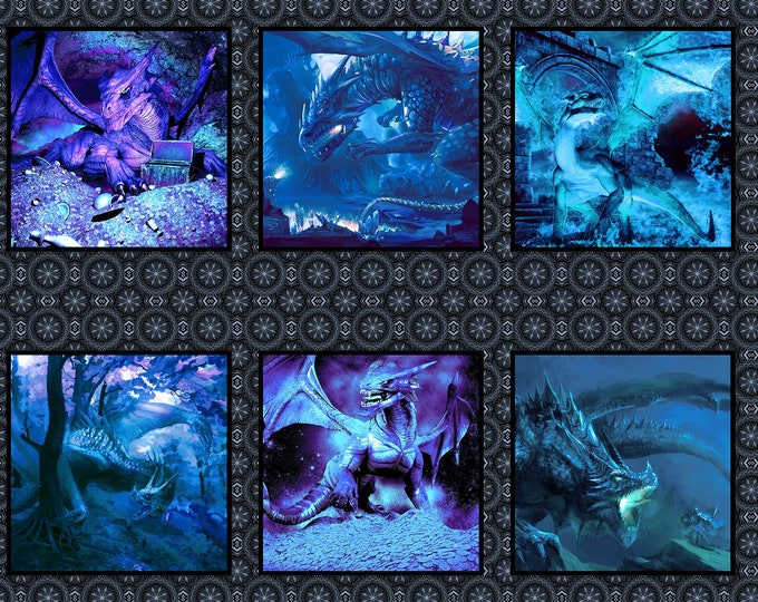 In the Beginning Fabrics - Blue Fury - Dragons - Jason Yenter - Panel - Blue Dragon - Midevil - Castles  - 2DRG2 Blue - Sold by the Panel