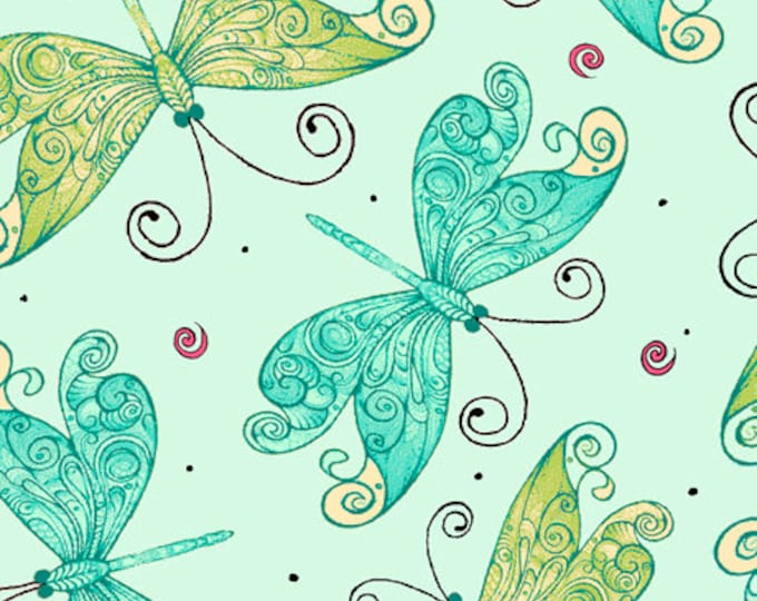 Quilting Treasures - Aziza - Sold by Yard - Butterflies - Butterfly - Teal - 26693 Q
