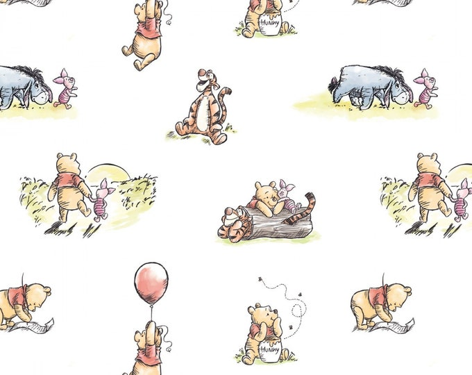 Camelot - Winnie the Pooh classic Collection - Storytime  -  Disney - Pooh Piglet Eeyore Tigger - Disney Fabric - 85430501- Sold by the Yard