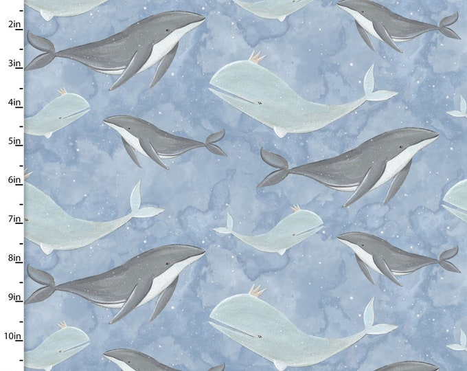 Three Wishes -Adventure in the Sky -  Whale Fabric -  Blue Background -  14657  - Sold by Yard
