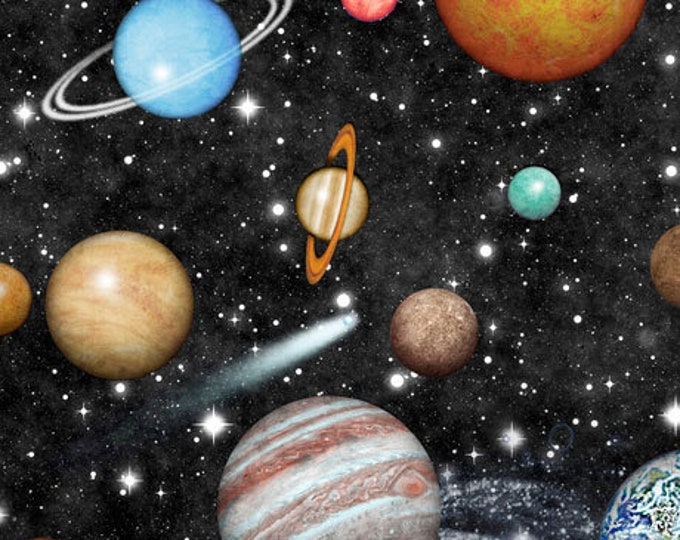 Quilting Treasures - Intergalactic - Planets - Black - 26744J - Sold by the Yard