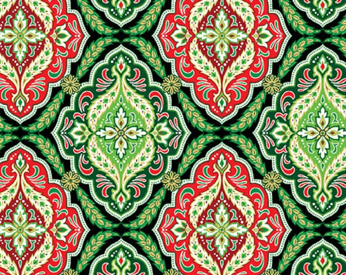 Kanvas for Benartex - Merry and Bright -  Medallion - Christmass -  Metallic -  Green /Red -  8801M40  - Sold by the Yard