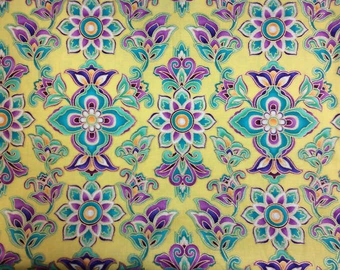 Michael Miller Fabrics -  Paisley Moon - Gold Metallics - yellow - Sold by the Yard
