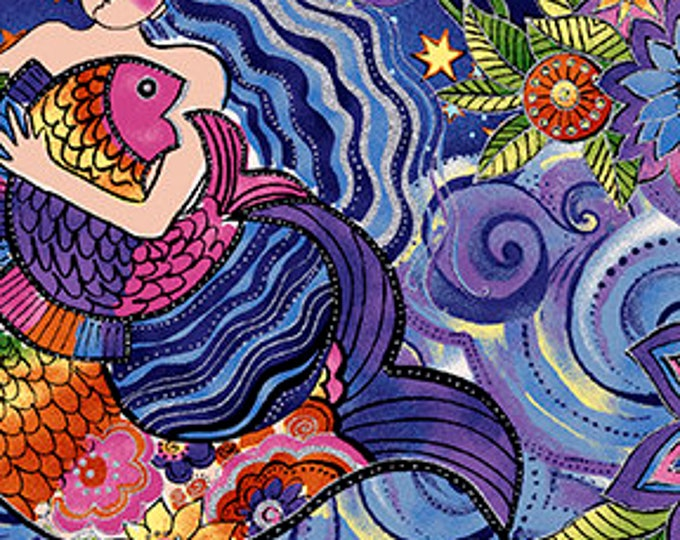 Laurel Burch - Sea Goddess - All over Mermaid Print - Dark Purple - Silver Metallic -  Y2598-86 - Sold by Yard
