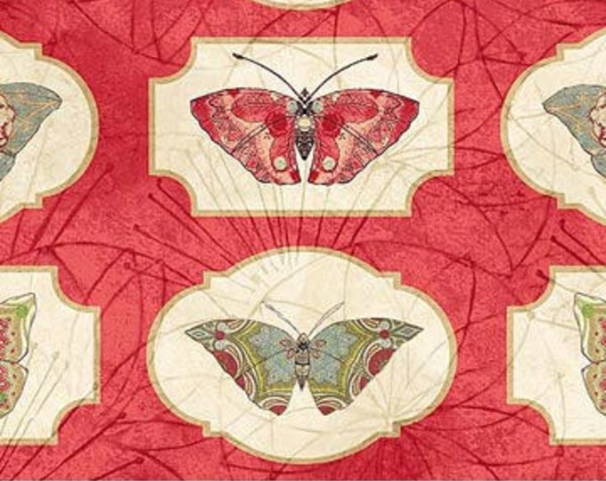 Northcott Artisan Spirit - Serendipity - Butterfly  on Red - All Over Print - Butterfly  - Red - 21867 24