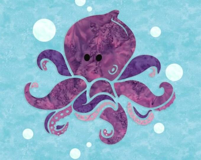 "Sewquatic Jr - Octopus - Pre-cut/fused Kit - 15""x15"" - Precut/Fused Applique Kit - precut kit -  Sold by the Kit"