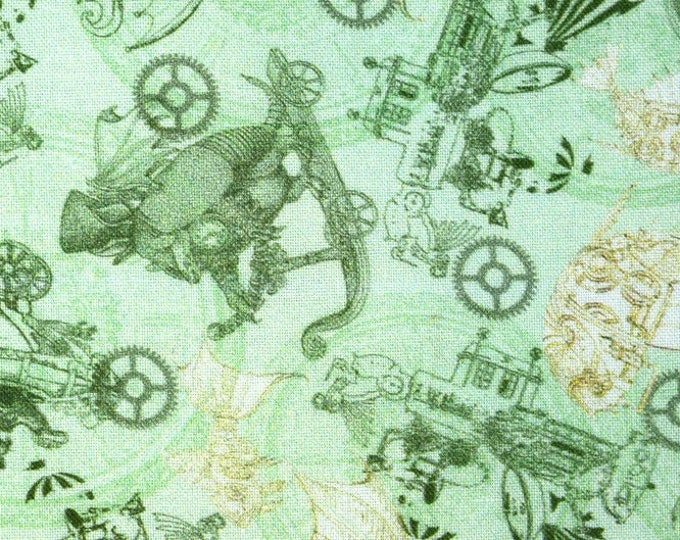 Quilting Treasures - Fantasy & Fiction - Steampunk Toile - Mint - Steam Punk - Steam Punk Animals - 27552H  - Sold by the Yard