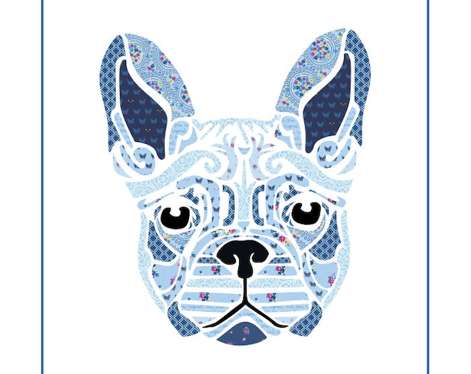 "Fleur the Frenchie - Pre-cut/fused Kit - 20""x20"" - Applique Kit including Pattern"
