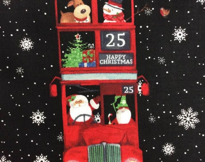 Northcot  - Double Decker Christmas - Xmas - Panel - London Themed Bus - Christmas Bus - 22900-99 - By Karen Tye Bentley - Sold by the Panel