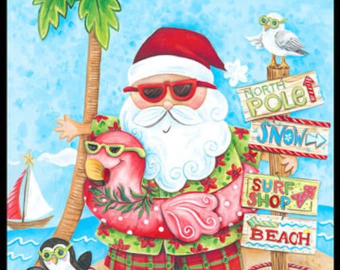 Blank Quilting - Holiday Beach - Panel - Santa fabric - Santa Panel - Surfing Santa -  Sold by the Panel