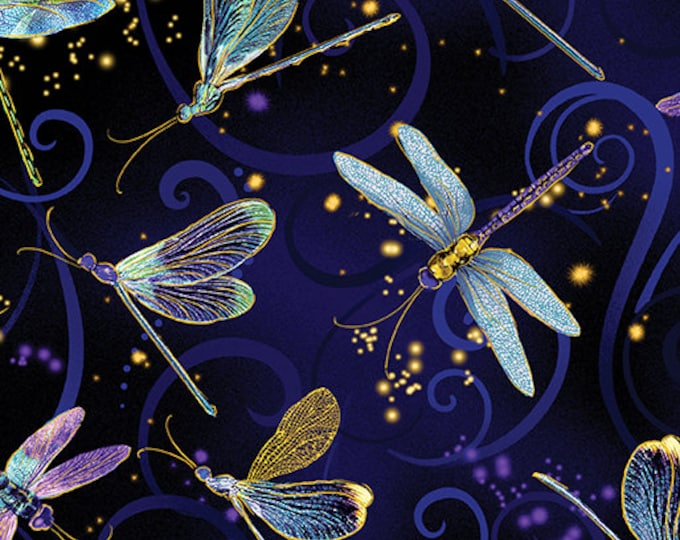 Kanvas for Benartex - Dance of the Dragonfly - Navy - 8498M-59 - Gold Metallic - Sold by the Yard