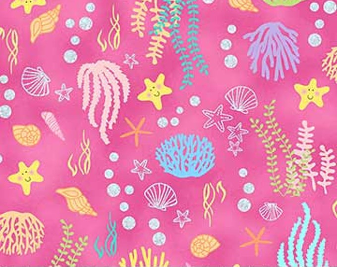 Northcott - Mermaid Wishes - Sealife and Coral on Pink Background - Metallic - Glitter - GL21962 28- Sold by the Yard