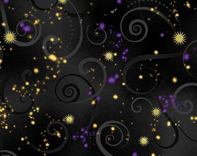 Kanvas for Benartex - Dance of the Dragonfly - Swirling Sky - Black  - 8500-99 - Gold Metallic - Sold by the Yard