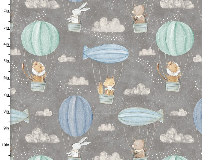 Three Wishes -Adventure in the Sky  - Air Balloon -  Gray Background -  14658  - Sold by Yard