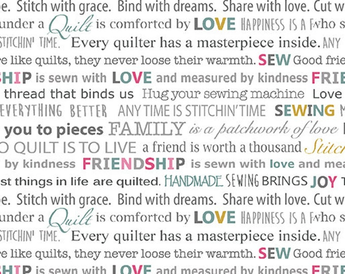 Benartex - Words to Quilt By - White  Words - Text - Words - Quilters Patch - 0697509B -  Sold by the Yard