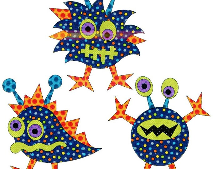 Urban Elementz - Applique Elementz - Monster Mash Set - Precut/Fused Applique Kit including Pattern with Steam a Seam 2