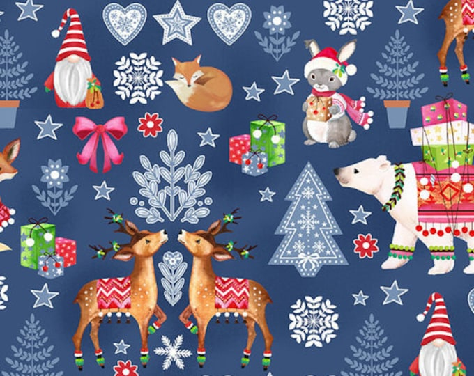Blank Quilting - Nordic Forest  - Decorative Animals -  Blue  - All over print  - 9573-77 - Sold by the Yard