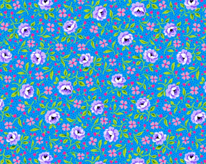 Quilting Treasures - Bliss - Packed Flowers - Purple Roses on Blue/Teal - Flowers - Floral Fabric - Packed Floral - 27472B- Sold by the Yard