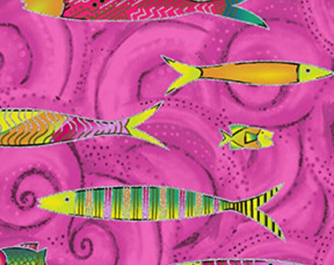 Laurel Burch - Sea Goddess - Fish - Rasberry -  Silver Metallic - Y2600-74M - Sold by Yard