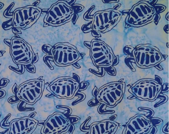 Batiks by Mirah - Batik - Large blue Turtles on Blue Background - Batik Turtles