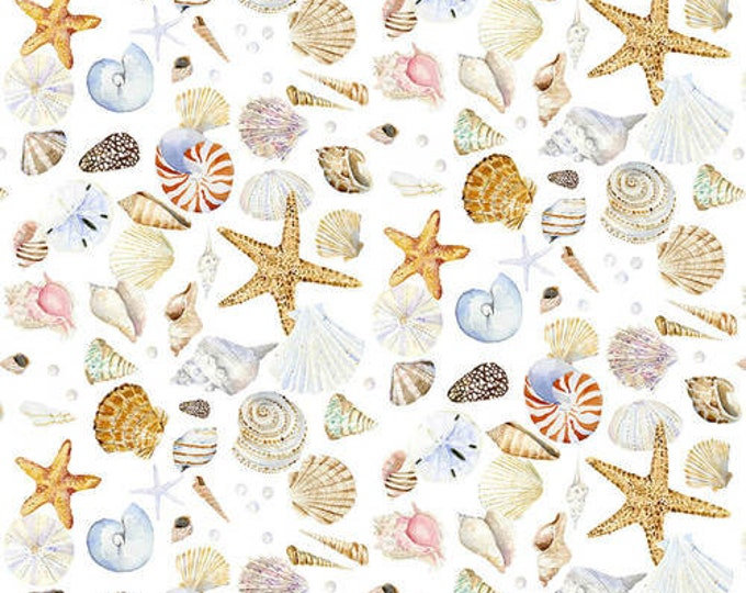 Henry Glass - Coastal Paradise  - 1505-14  - Shell Fabric - White Backgroun -  Sold by the Yard