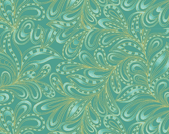 Benartex - Cat-I-Tude 2 - Purrfect Together -  Cat - Metallic - Featherly Paisley - Green - 7555M44B  - Sold by the Yard
