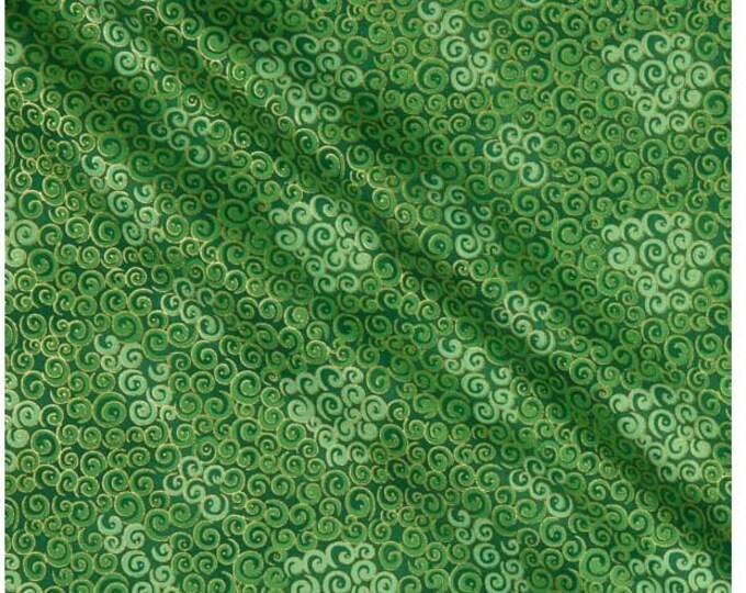 Blank Quilting - Spiral Metallics - Medium Green -  Gold - M9994-62 - Metallic - Sold by the yard