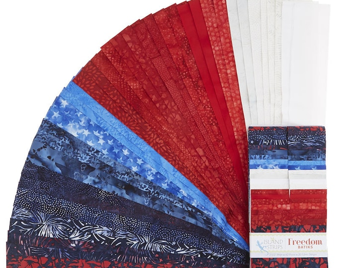 Island Batik - Freedom  -  Jelly Roll - 2.5 Inch Strips - 40 Strips - Quilt of Valor - Red White & Blue - Sold as a Jelly Roll