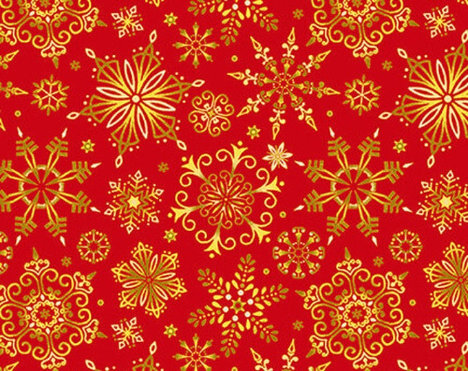 Studio E - Christmas Joy  -  Snowflakes - Gold on Red - Christmas Fabric - Red -  Gold Metallic - 4695M-88 - Sold by the Yard