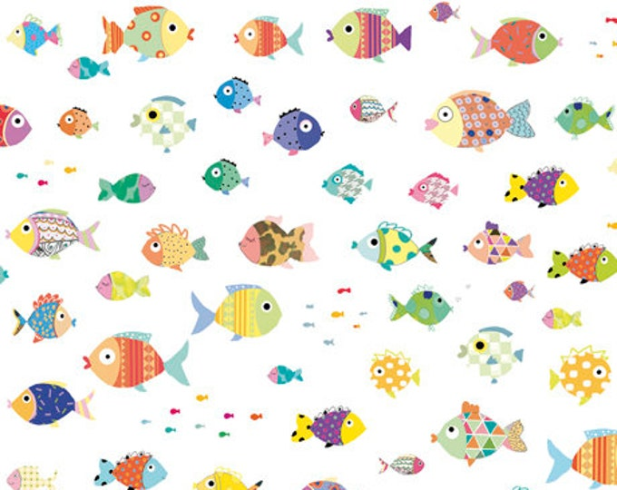 Quilting Treasures - Sea Buddies - Fish - White - Sea fabric  - 27621Z -  Sold by the Yard