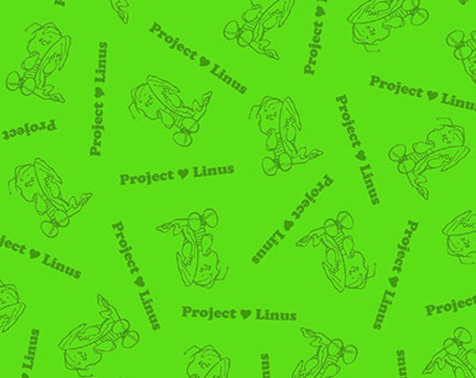 Quilting Treasures - Project Linus - Linus Blender - Lime - Peanuts Fabric -  Sold by the Yard