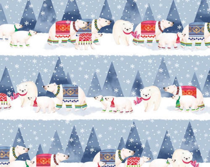 Blank Quilting - Nordic Forest  - Polar Bear Stripe -   lt Blue  - Border Stripe  - 9579-79 - Sold by the Yard