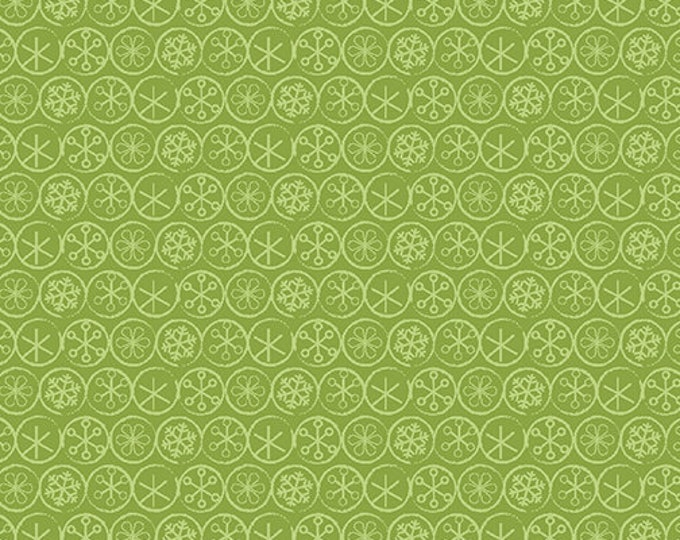 Benartex - Heart and Home - Flake Dot -  Quilt Shop - Christmas - 10328-44 -  Green / Tone on Tone - Sold by the Yard