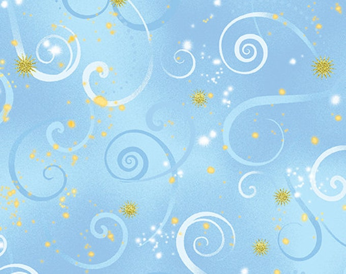 Kanvas for Benartex - Dance of the Dragonfly - Swirling Sky - Light Blue - 8500-57  - Gold Metallic - Sold by the Yard
