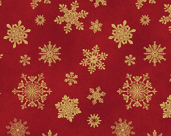Benartex - Cat-I-Tude - Christmass -  Cat - Metallic - Playful Flakes - Snowflakes - Red -  6747M10B - Sold by the Yard