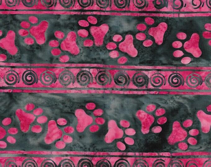 Island Batik - Paw Stripe - Batik - Border Stripe - Bubblegum - Red - Sold by the Yard